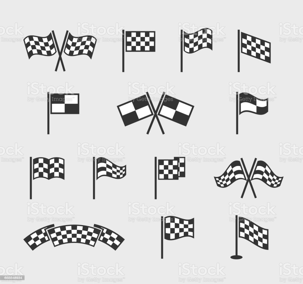 Checkered vector flags. Racing waving finish and start line flag set isolated on white background vector art illustration