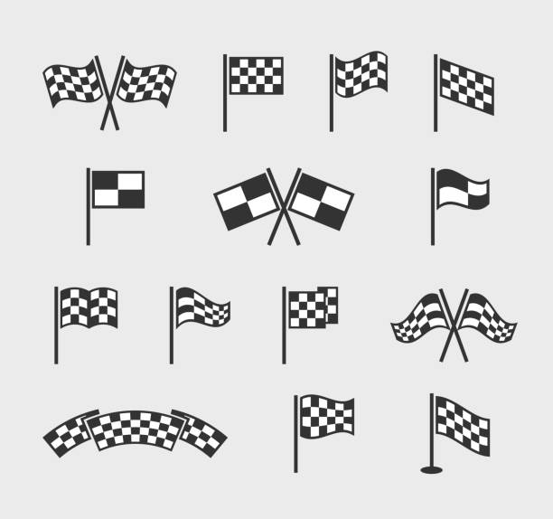 Checkered vector flags. Racing waving finish and start line flag set isolated on white background Checkered vector flags. Racing waving finish and start line flag set isolated on white background. Flag finishing for motocross competition illustration finishing stock illustrations