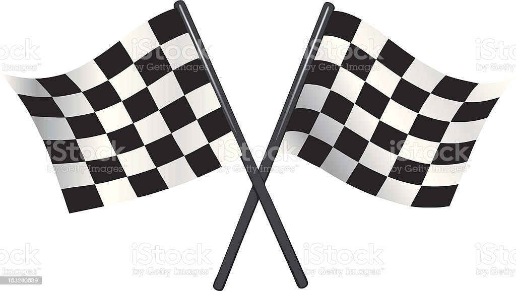 checkered vector flags - reached the goal vector art illustration