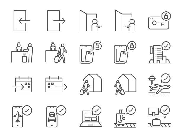 stockillustraties, clipart, cartoons en iconen met de regelpictogramset in- en uitchecken. inclusief pictogrammen als aankomst, boeking, vertrek, reis, hotel, vlucht en meer. - absentie