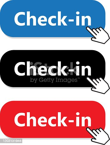 Check-in button collection with a hand pointer.