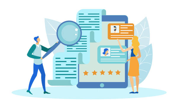 Checking Applicants Information with Magnifier. People Searching for Best Candidate, Applying for Job Flat Cartoon Vector Illustration. Checking Applicants Information with Big Magnifying Glass. Woman Looking at Profiles with Photos. candidate stock illustrations