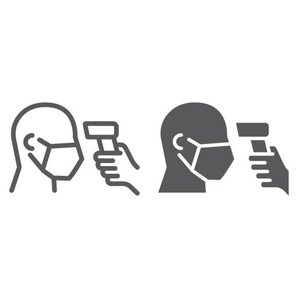 bildbanksillustrationer, clip art samt tecknat material och ikoner med kontroll kroppstemperatur linje och glyf ikon, coronavirus och covid 19, temperatur scaning tecken, vektorgrafik, ett linjärt mönster på en vit bakgrund, eps 10. - feber