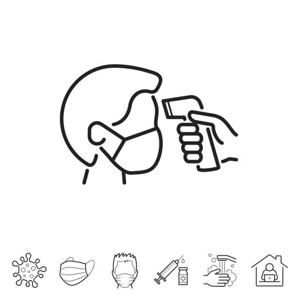 Checking body temperature. Line icon - Editable stroke vector art illustration