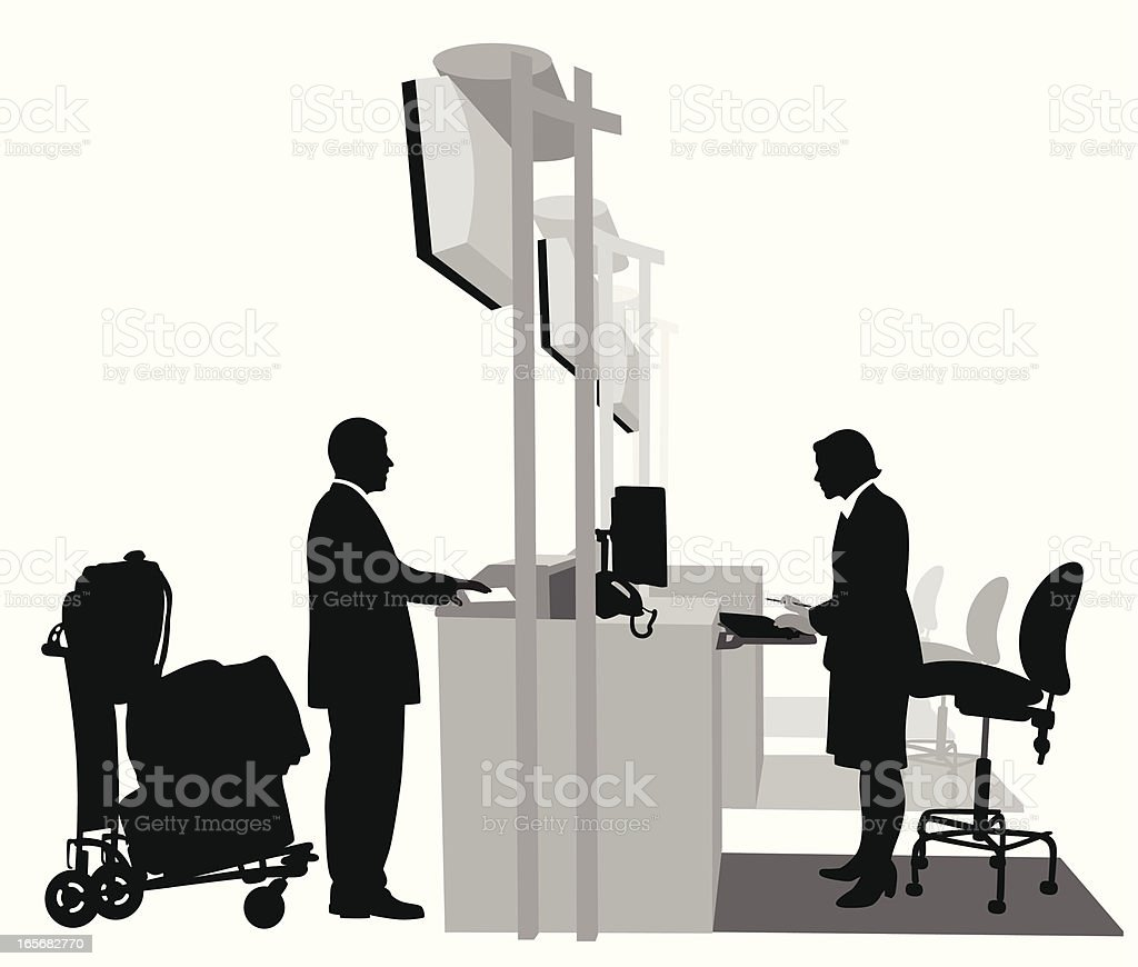 Checking Luggage Vector Silhouette royalty-free stock vector art