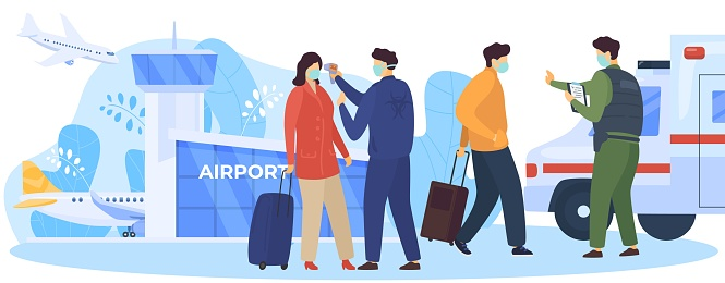 Checking passengers at border, covid-19 vector illustration. Service workers check arrivals for fever near airport. man and woman