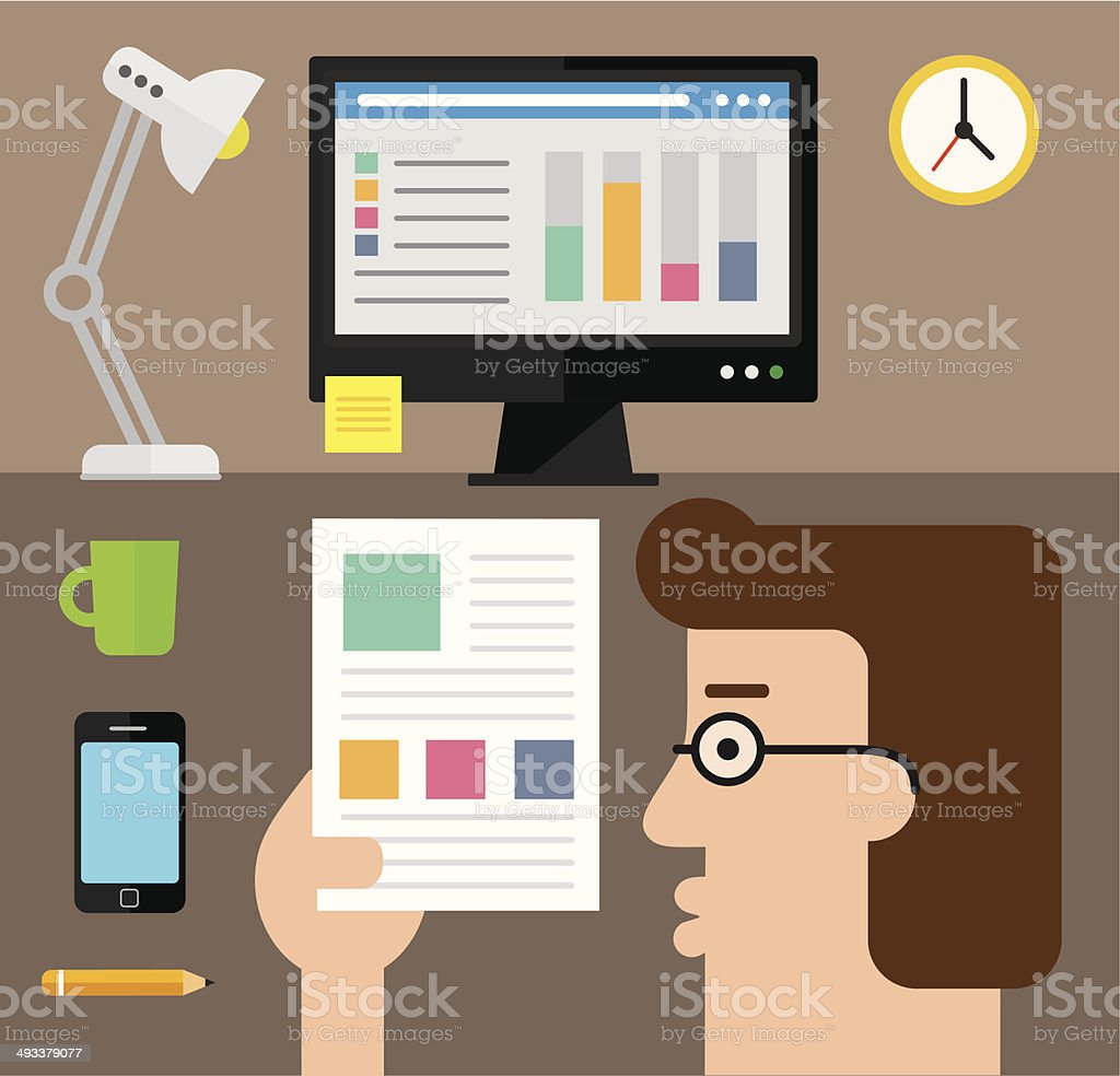Checking the stats on paper vector art illustration