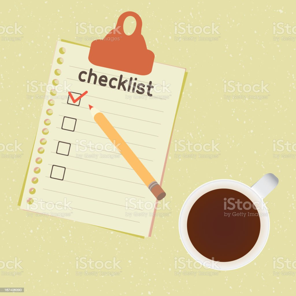 checklist and cup of coffee vector art illustration