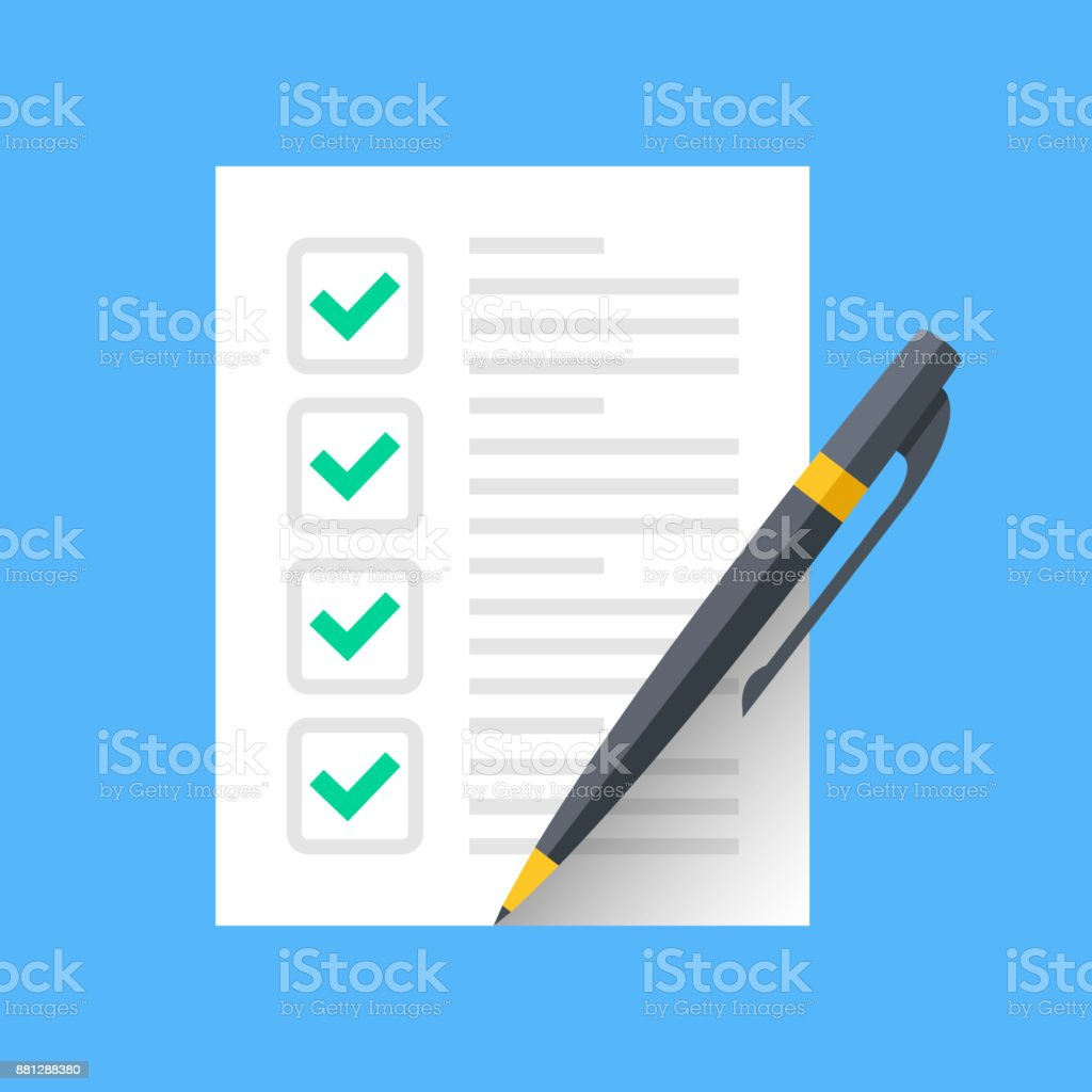Checklist and pen. Document with green ticks checkmarks and pen. Checklist icon, application form, complete tasks, to-do list, survey concepts. Modern flat desgin vector icon vector art illustration