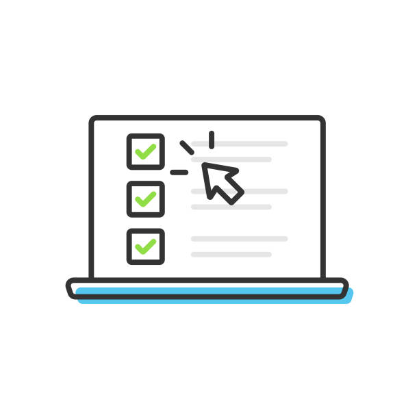 Checklist and Tick on Laptop Screen Icon. Check Mark Browser Window and Choice, Survey Concepts Vector Design on White Background. Scalable to any size. Vector Illustration EPS 10 File. survey icon stock illustrations