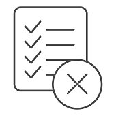 Checklist ban thin line icon. List failure vector illustration isolated on white. Document with cross outline style design, designed for web and app. Eps 10