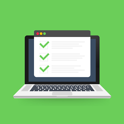 Checklist browser window. Check mark. White tick on laptop screen. Choice, survey concepts. Vector illustration.