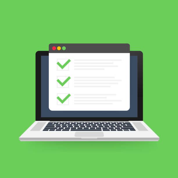 ilustrações de stock, clip art, desenhos animados e ícones de checklist browser window. check mark. white tick on laptop screen. choice, survey concepts. vector illustration. - exatidão