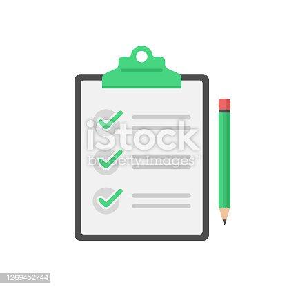 istock Checklist, Clipboard and Pencil Icon Flat Design on White Background. 1269452744