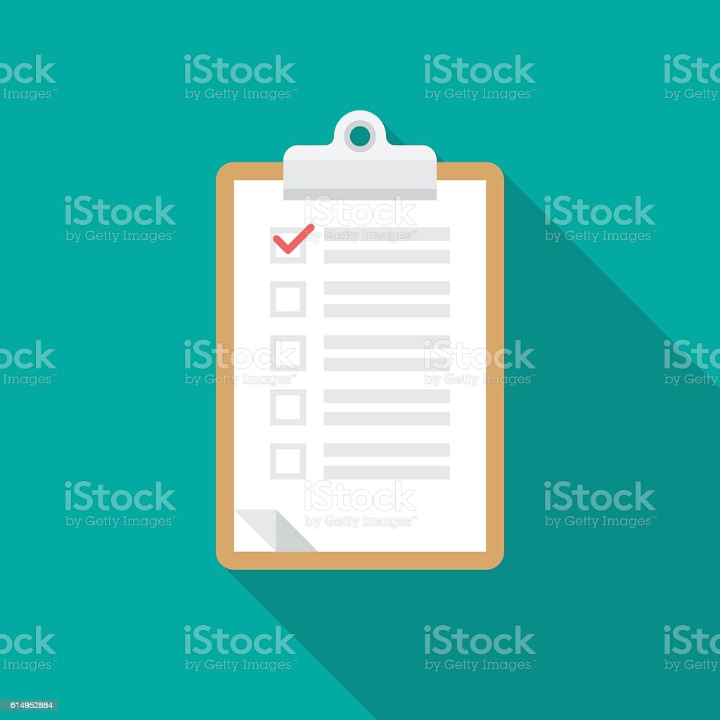 Checklist clipboard icon with long shadow. vector art illustration