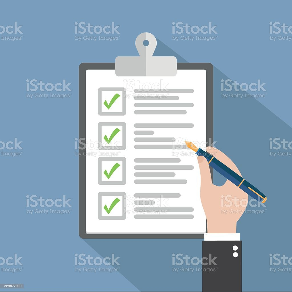 Checklist clipboard vector art illustration