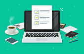 istock Checklist document in laptop and working desk vector. Cartoon computer with checkmarks document or to do list with checkboxes, concept of survey. Online quiz or done test, feedback or workplace table 1168006075