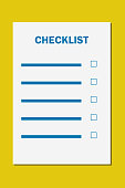 Checklist document paper with item bar and empty tick box , Business audit template form. Illustration on yellow background.