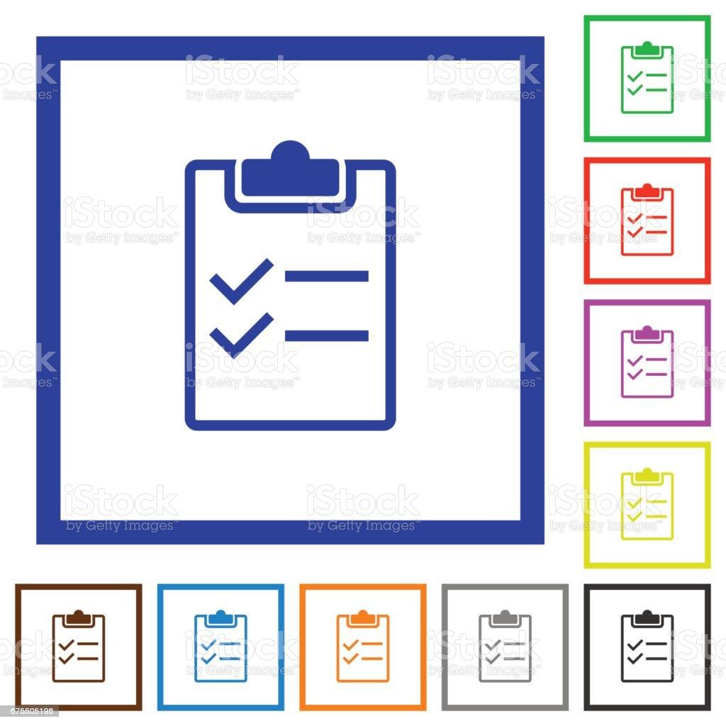 Liste de vérification encadré icônes plats liste de vérification encadré icônes plats – cliparts vectoriels et plus d'images de appliquer libre de droits