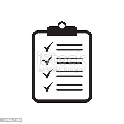 istock Checklist icon flat style isolated on background. Checklist sign symbol for web site and app design. 1330505483