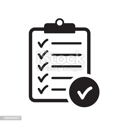 istock Checklist icon flat style isolated on background. Checklist sign symbol for web site and app design. 1330505527