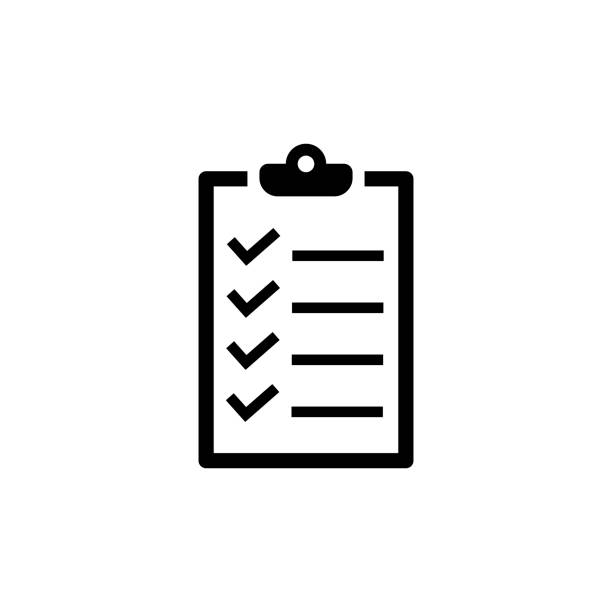Checklist icon in flat style. To do list symbol Checklist icon in flat style. To do list symbol isolated on white background. Simple abstract check list icon in black. Modern flat vector illustration for graphic design, Web, UI, mobile upp clipboard stock illustrations