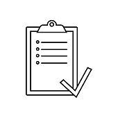 Checklist icon, isolated. Flat design.