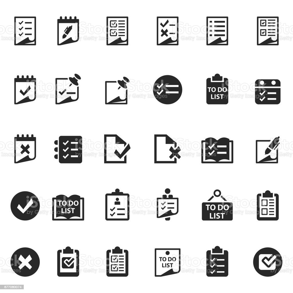 Checklist icon set vector art illustration