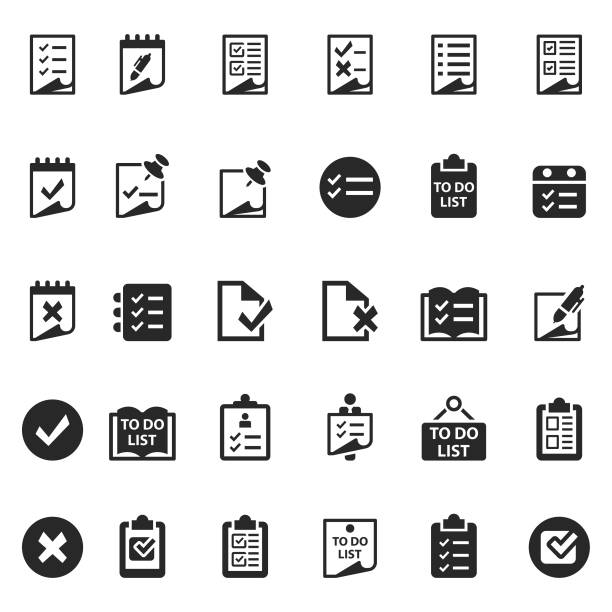 Checklist icon set Checklist icon set form document stock illustrations