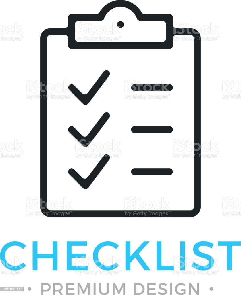 Checklist line icon. Clipboard with checkmarks. List with ticks, check marks. Task is done, work is finished concept. Black vector checklist icon vector art illustration