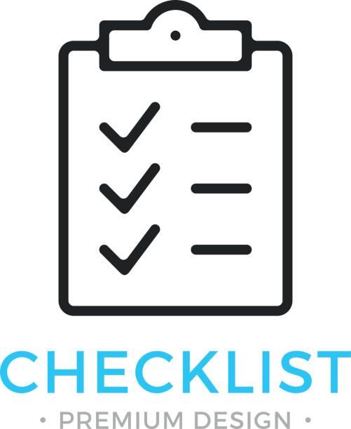 ilustrações, clipart, desenhos animados e ícones de ícone de linha de lista de verificação. área de transferência com marcas de seleção. lista com carrapatos, marcas de verificação. tarefa é feita, o trabalho é conceito acabado. ícone de lista de verificação de vetor preto - afazeres domésticos