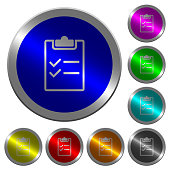 Checklist luminous coin-like round color buttons