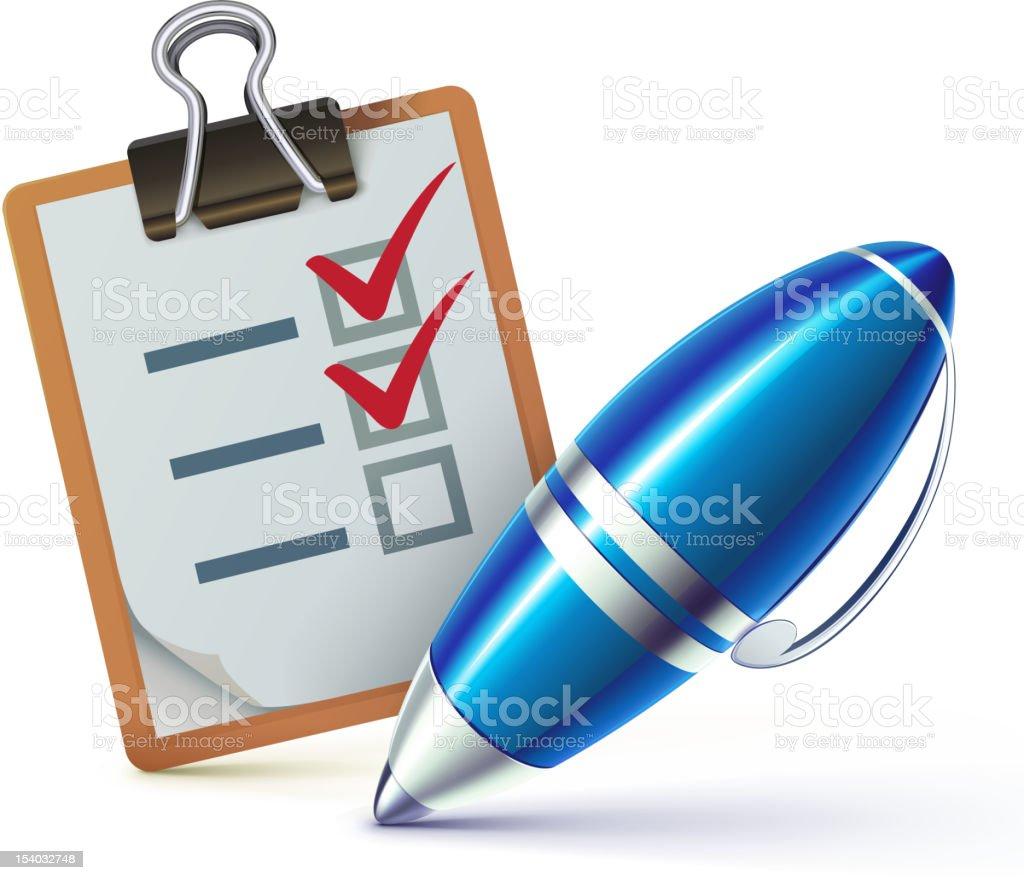 checklist on a clipboard royalty-free stock vector art