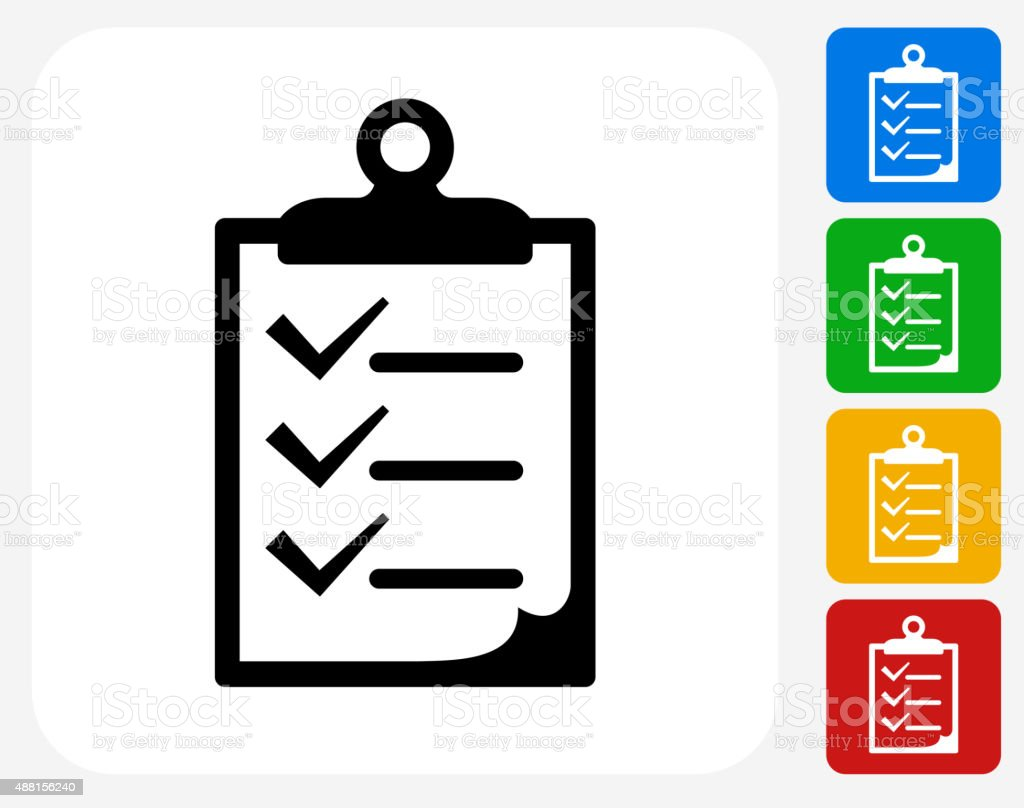 Checklist on Clip Board Icon Flat Graphic Design vector art illustration