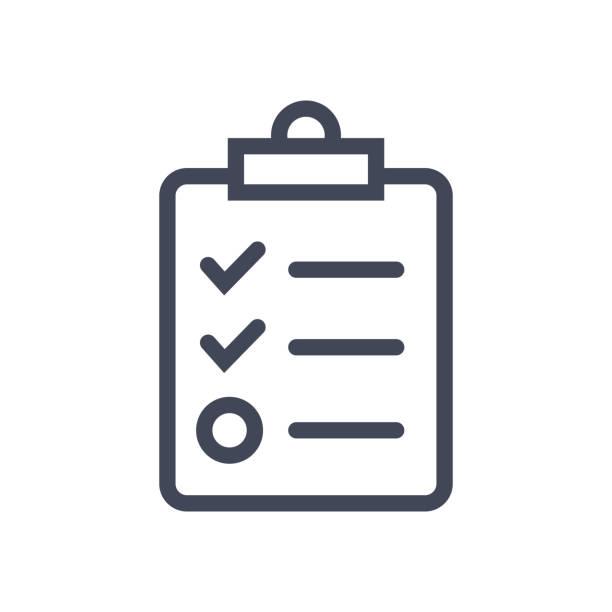 illustrazioni stock, clip art, cartoni animati e icone di tendenza di checklist on clip board icon flat graphic design - to do list