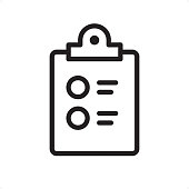 Checklist on clipboard - Outline Icon - Pixel Perfect
