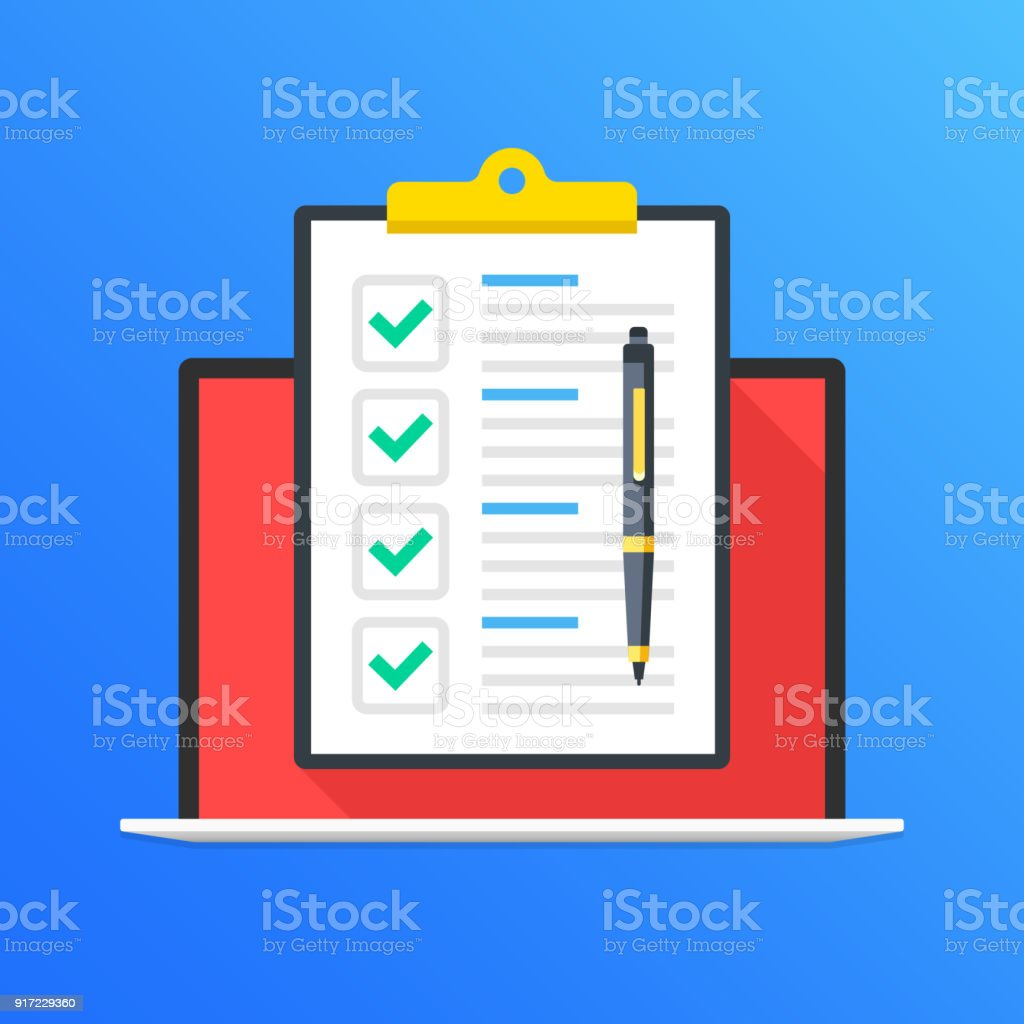 Checklist on laptop screen. Laptop and clipboard with green check marks, checkmarks and pen. Online survey, quiz, poll, tasks, questionnaire concepts. Modern long shadow flat design graphic elements. Vector illustration vector art illustration