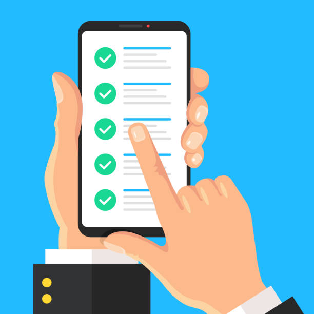 Checklist on phone screen. Hand holding mobile phone with check marks. Cellphone, smartphone. Online survey, test, questionnaire, tasks done, quiz, poll, form with checkmarks, green ticks concepts. Flat design. Vector illustration vector art illustration