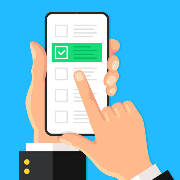 Checklist on smartphone screen. Online survey, quiz concepts. Hand holds mobile phone and check list with checkboxes and checkmark. Modern flat design. Vector illustration vector art illustration