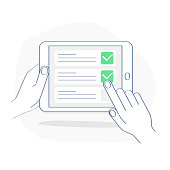 Checklist on tablet display, checkboxes with check mark. List of purchases, tasks, to do, wish list on the website concept. Flat outline vector design, premium quality trendy icon.
