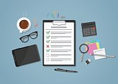 Flat realistic business checklist on workplace with green and red marks. Workspace with distributed office objects on it. Coffee cup, tablet, glasses with calculator, magnifier and paper notes.