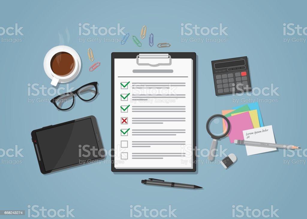 Lista de verificación en el lugar de trabajo - ilustración de arte vectorial