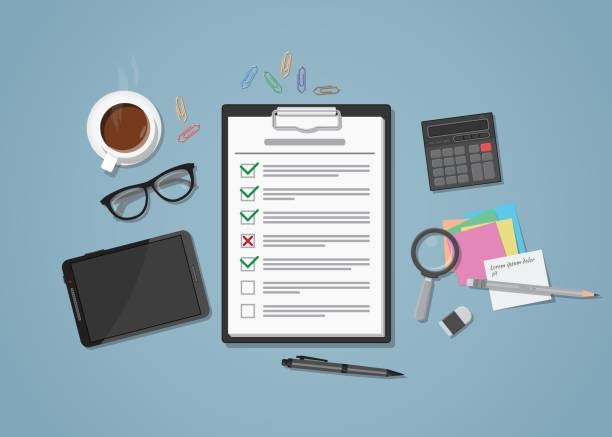 checklist on workplace - office party stock illustrations, clip art, cartoons, & icons