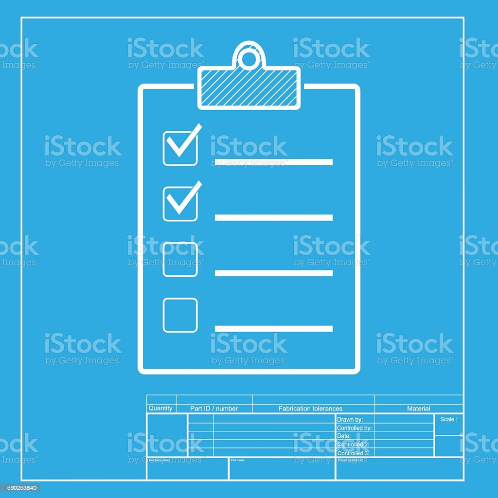 Checklist sign illustration white section of icon on blueprint white section of icon on blueprint template royalty free checklist malvernweather Gallery