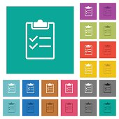 Checklist square flat multi colored icons