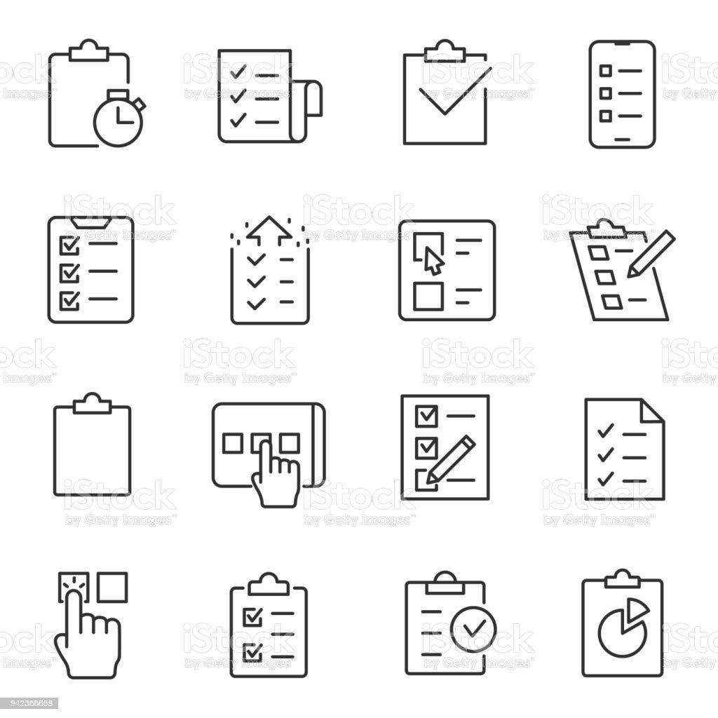 Checklist, tests et sondages icônes défini. La ligne barrée modifiable checklist tests et sondages icônes défini la ligne barrée modifiable vecteurs libres de droits et plus d'images vectorielles de accord - concepts libre de droits