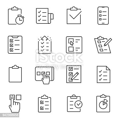 Checklist, testing and polling icons set. linear design. Line with editable stroke