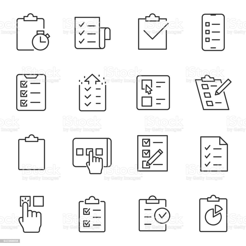 Checklist, testing and polling icons set. Line with editable stroke vector art illustration