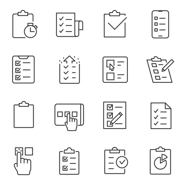 Checklist, testing and polling icons set. Line with editable stroke Checklist, testing and polling icons set. linear design. Line with editable stroke form document stock illustrations
