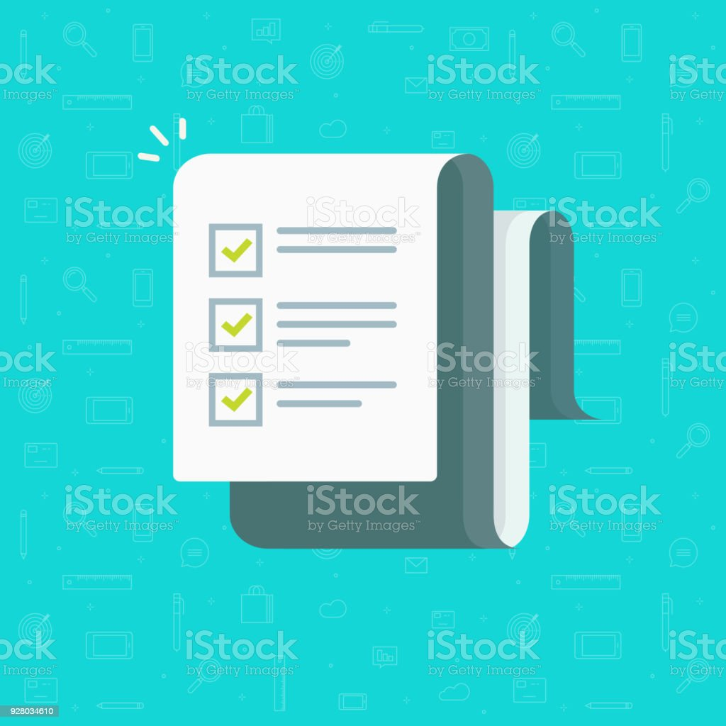 Checklist vector illustration, cartoon paper sheet with complete to do list checkmarks, idea of feedback report, success research, survey or questionnaire test form, assess or evaluation document vector art illustration